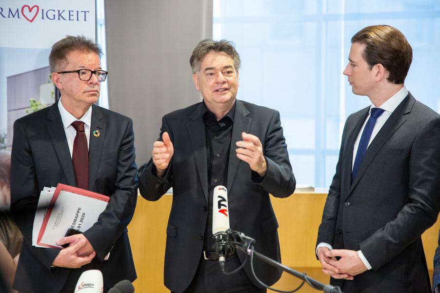 Bild 86 | Bundeskanzler Kurz, Vizekanzler Kogler und Sozialminister Anschober besuchen das Haus der ...