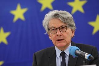 Bild 2 | Pressegespräch mit EU-Kommissar Breton zur Impfstoffstrategie